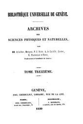 Archives des sciences physiques et naturelles: Volumes11à13