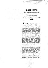 Rapporto del Ministro delle armi all'alto Consiglio per la tornata del 29 luglio 1848