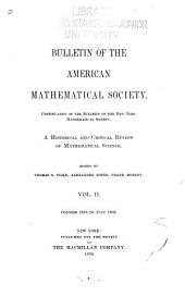 Bulletin of the American Mathematical Society: Volume 2