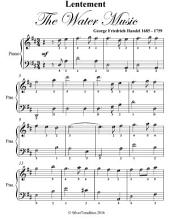 Lentement the Water Music Easy Piano Sheet Music