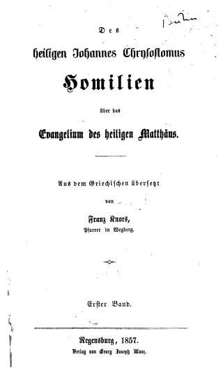 Homilien   ber das Evangelium des heiligen Matth  us PDF