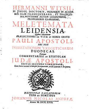 Hermanni Witsii     Meletemata Leidensia     Editio secunda correctior  etc