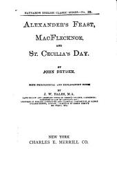 Alexander's Feast ; MacFlecknoe ; and St. Cecilia's Day