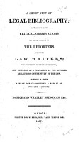 A Short View of Legal Bibliography PDF