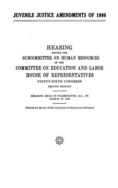 Juvenile Justice Amendments of 1980 PDF