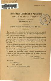 Distribution of Cotton Seed in 1909