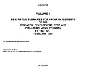 Descriptive Summaries for Program Elements of the Research  Development  Test and Evaluation  Army Program  FY 1987  U   February 1986 PDF