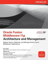 Oracle Fusion Middleware 11g Architecture and Management PDF