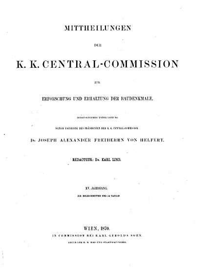 Mittheilungen der K K  Central Commission zur Erforschung und Erhaltung der Baudenkmale PDF