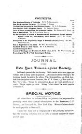 Journal of the New York Entomological Society: Volume 3