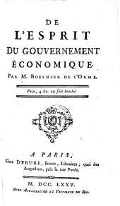 De l'esprit du gouvernement économique