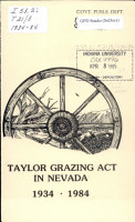 Taylor Grazing Act in Nevada  1934 1984 PDF