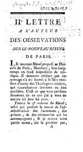 IIe lettre a l'auteur des observations sur le nouveau rituel de Paris