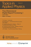 Two-Dimensional Digital Signal Processing I