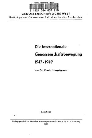 Die internationale Genossenschaftsbewegung 1947 1949