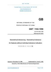GB/T 1184-1996: Translated English of Chinese Standard. (GBT 1184-1996, GB/T1184-1996, GBT1184-1996): Geometrical tolerancing - Geometrical tolerance for features without individual tolerance indication