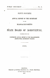 Annual Report of the Secretary of the Massachusetts State Board of Agriculture: Volume 54, Part 1906