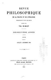 Revue philosophique de la France et de l'étranger: Volume38