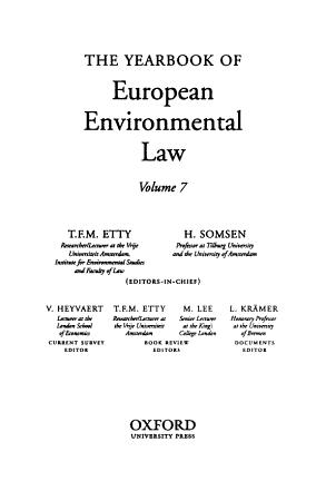 Yearbook of European Environmental Law PDF