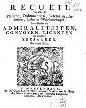 Recuëil van alle de placaten [...] betreffende de admiraliteiten [...] en verdere zee-saaken