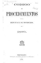 Código de procedimientos de la República de Honduras, 1880