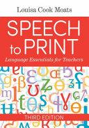 Speech to Print  Language Essentials for Teachers Book