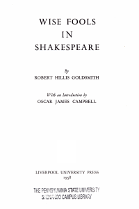 Wise Fools in Shakespeare PDF