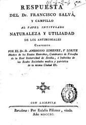 Respuesta del Dr. Francisco Salvá y Campillo al papel intitulado naturaleza y utilidad de los antimoniales