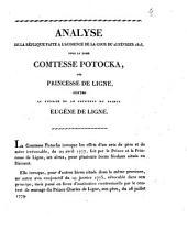 Analyse de la rêplique faite à l'audience de la cour du 25 février 1823, pour la dame comtesse Potocka, née princesse de Ligne, contre la tutrice et le cotuteur du prince Eugène de Ligne