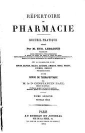 Répertoire de pharmacie: Volume2