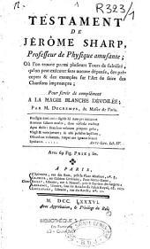 Testament de Jérôme Sharp