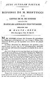 Audi Alteram Partem. Ou Réponse De M. Montucci À La Lettre De M. De Guignes Insérée Dans Les Annales Des Voyages: IIIme Souscription Tom. II. Cah. II.