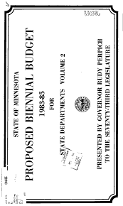 State of Minnesota Proposed Biennial Budget 1983 85 for     PDF