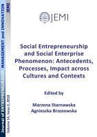 Social Entrepreneurship and Social Enterprise Phenomenon  Antecedents  Processes  Impact across Cultures and Contexts PDF