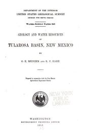 --Geology and water resources of Tularosa basin, New Mexico