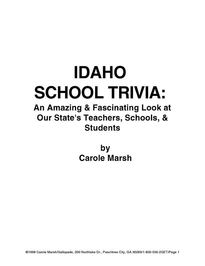 Idaho School Trivia