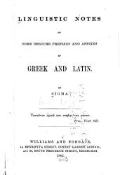 Linguistic Notes on Some Obscure Prefixes and Affixes in Greek and Latin PDF