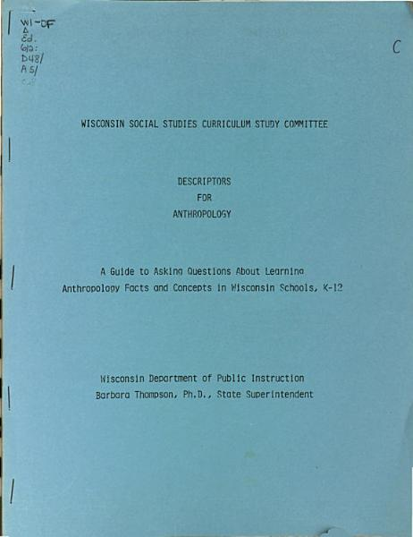 Descriptors for Anthropology PDF