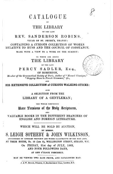 Download Catalogues of Items for Auction by Messrs  Leigh Sotheby   John Wilkinson  1840 1870 Book