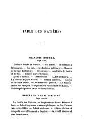 François Hotman.-Robert et Henri Estienne.-François de la Noue.-Duplessis-Mornay.-Théodore-aGrippa d'Aubigné