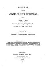 Journal of the Asiatic Society of Bengal: Volume 63
