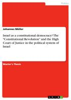 Israel as a Constitutional Democracy  The  Constitutional Revolution  and the High Court of Justice in the Political System of Israel PDF