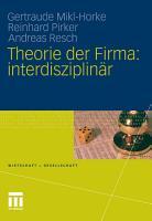Theorie der Firma  interdisziplin  r PDF