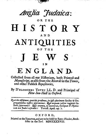 Anglia Judaica  Or  The History and Antiquities of the Jews in England PDF