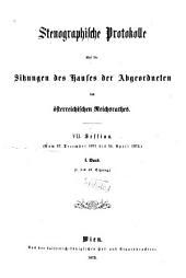 Stenographische Protokolle des Abgeordnetenhauses des Reichsrathes: Band 1
