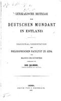 Lexikalische Beitr  ge zur deutschen Mundart in Estland PDF