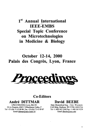 1st Annual International IEEE EMBS Special Topic Conference on Microtechnologies in Medicine   Biology PDF