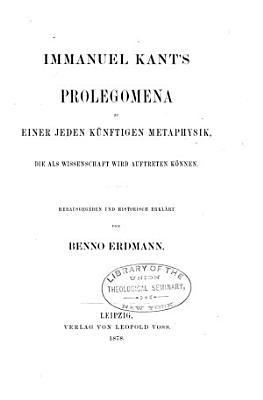 Prolegomena zu einer jeden K  nftigen Metaphysik PDF