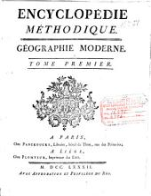 Encyclopédie méthodique: Géographie moderne : tome premier, Volume1,Partie1