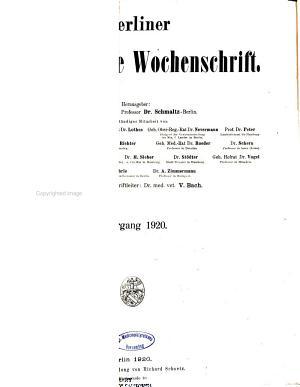 Berliner tier  rztliche Wochenschrift PDF